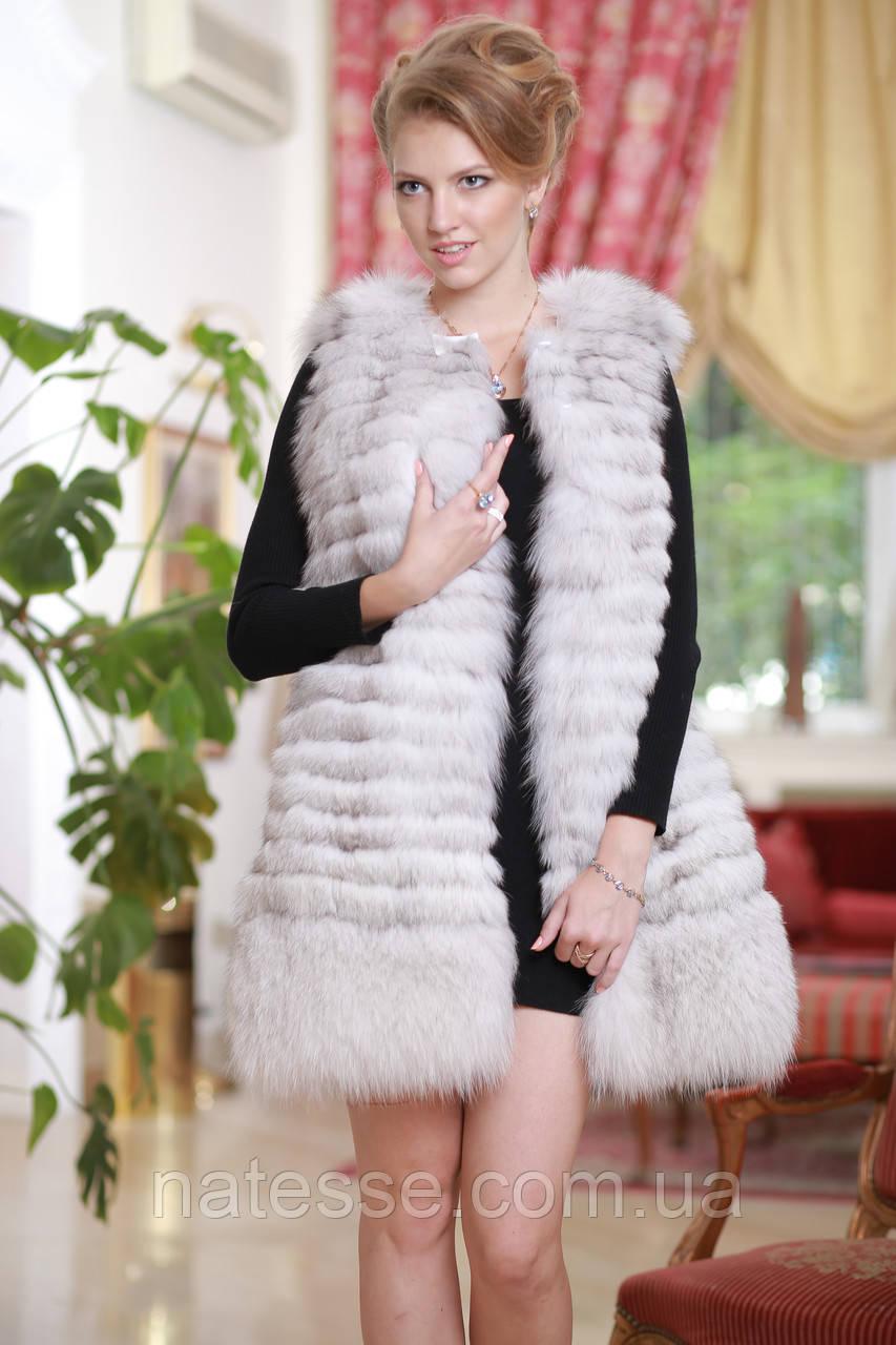 Жилет из вуалевого песца Blue fox fur vest