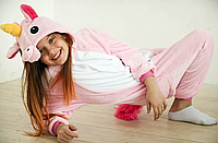 ✅ Детская пижама Кигуруми Единорог розовый 110 (на рост 108-118см)