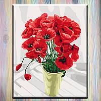 "Картина по номерам, холст на подрамнике, 40х50 см,  Маки ""Букет для мамы"", без коробки"