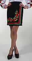 Юбка с вышитыми маками и вставками с красной и зеленой полосой в углу