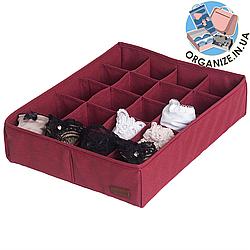 Коробочка для трусиков/носочков на 20 ячеек ORGANIZE (винный)