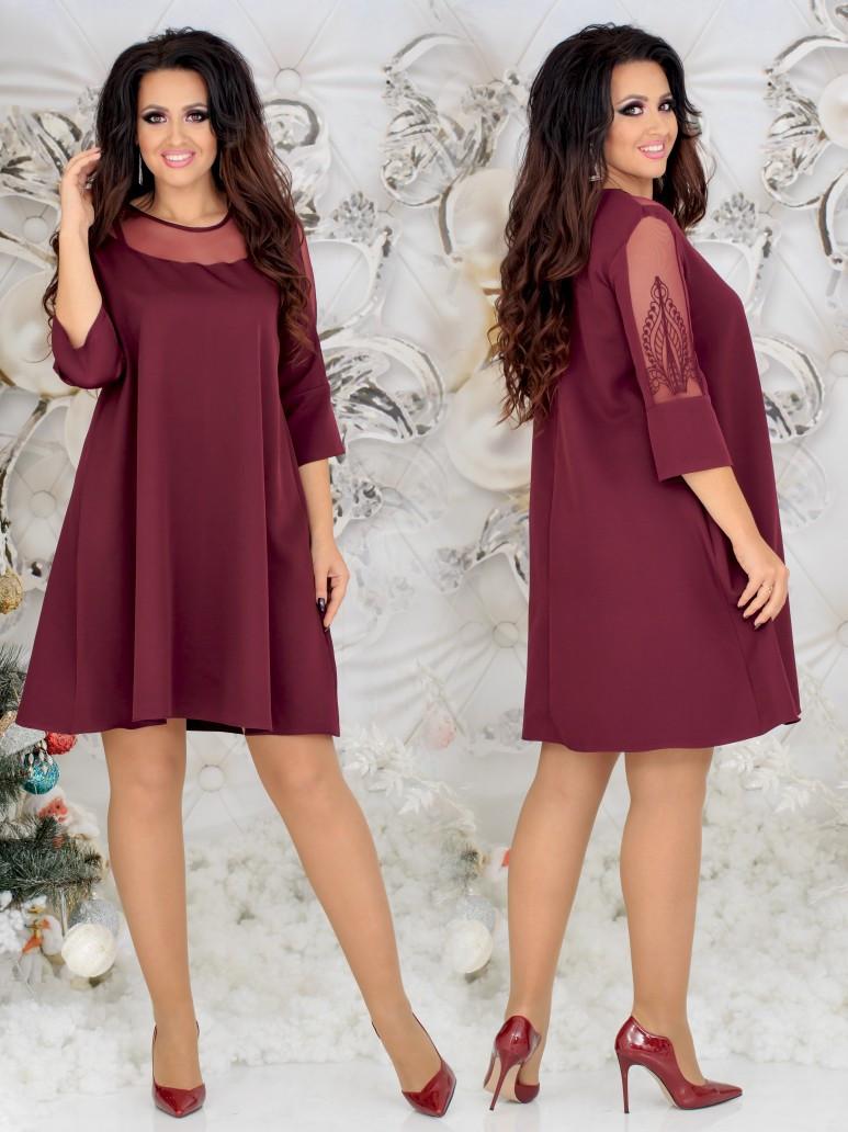 Красивое женское платье свободного кроя со вставками сетки 48, 50, 52, 54