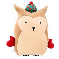 Детская мягкая игрушка - подушка Филин в шапочке, 40 см