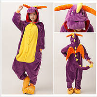 ✅ Пижама Кигуруми Динозавр фиолетовый (дракон спайро) XL (на рост 178-188)