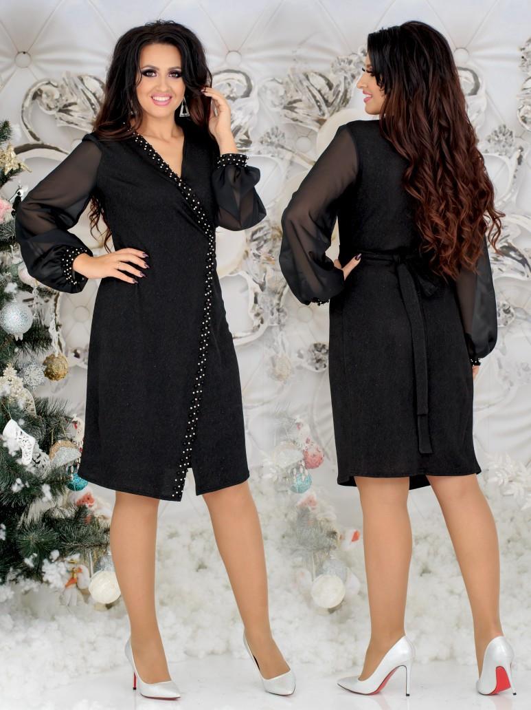 Красивое женское платье на запах под пояс с декором жемчуга и шифоновыми рукавами 48, 50, 52, 54