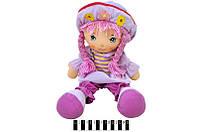 Кукла мягкая  в шляпе муз. 2цв. в п/э .46*21см. /48-2/(R2020B)