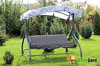 Садовые дачные качели 3-х местные КРИСТИ не раскладные, с тентом - навесом, без москитной сетки