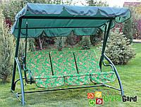 Садовые дачные качели 3-х местные ЭЛЕГИЯ с откидной спинкой, тентом - навесом, без москитной сетки