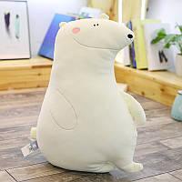 Милая детская мягкая игрушка - подушка Полярный медвежонок, 50 см