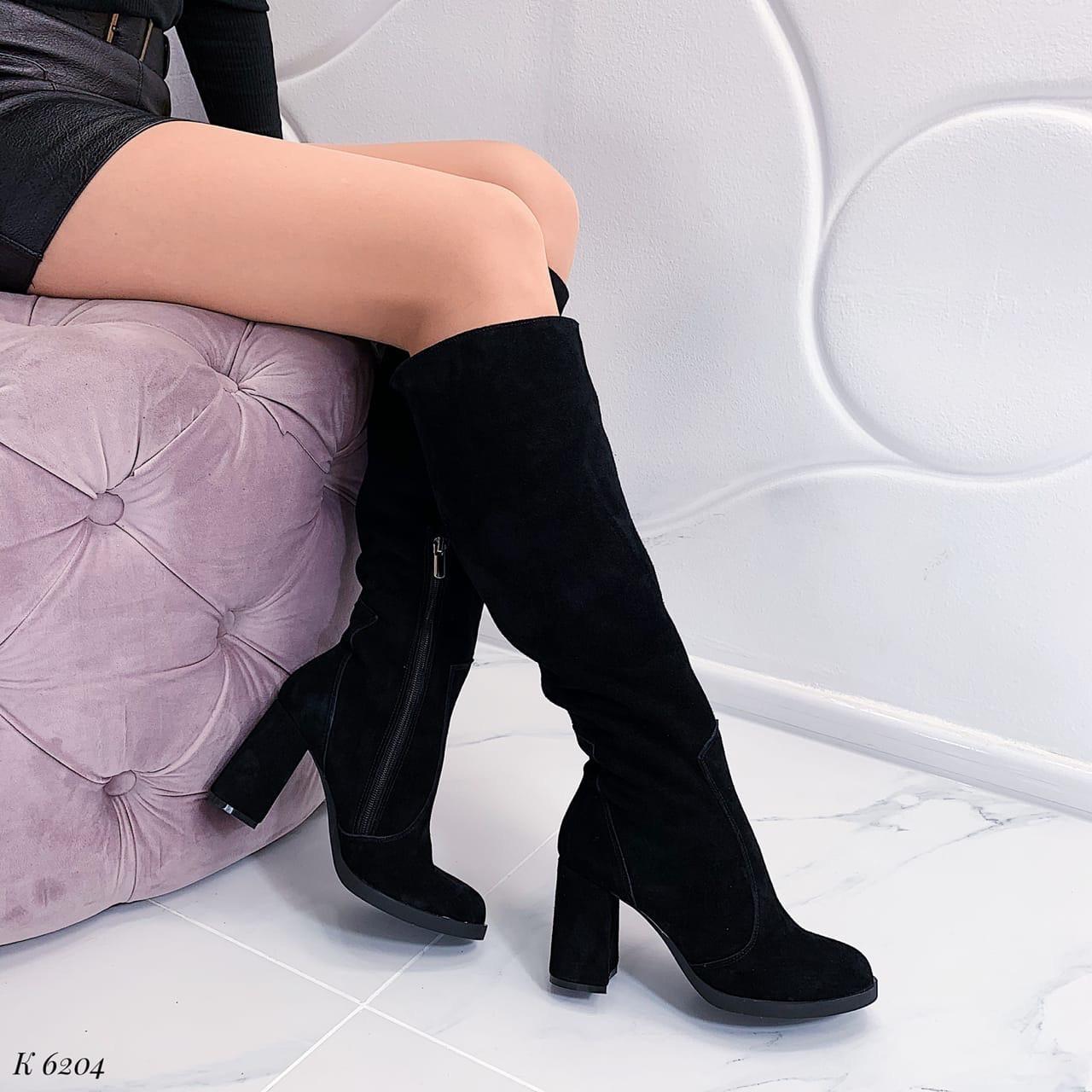 39 р. Сапоги женские зимние черные замшевые на высоком каблуке из натуральной замши натуральная замша