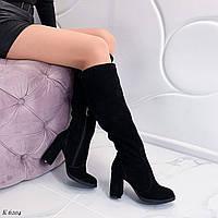 39 р. Сапоги женские зимние черные замшевые на высоком каблуке из натуральной замши натуральная замша, фото 1