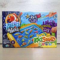 Настольная игра 2в1 Клевая рыбалка и Кинетический песок KIDSAND