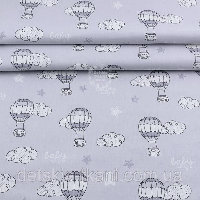 """Лоскут поплина """"Воздушные шары и облака"""" на сером (№1954)"""