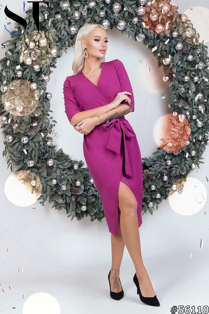 Женское коктейльное платье с запАхом фуксия размеры 42-46 st style