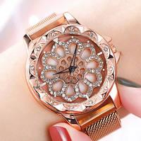 Женские часы с вращающимся крутящимся циферблатом Chanel Flower Diamond Rotation Watch (золото), фото 1