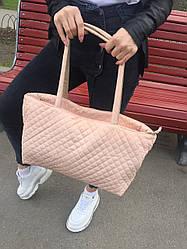 Легкая женская вместительная сумка пудра