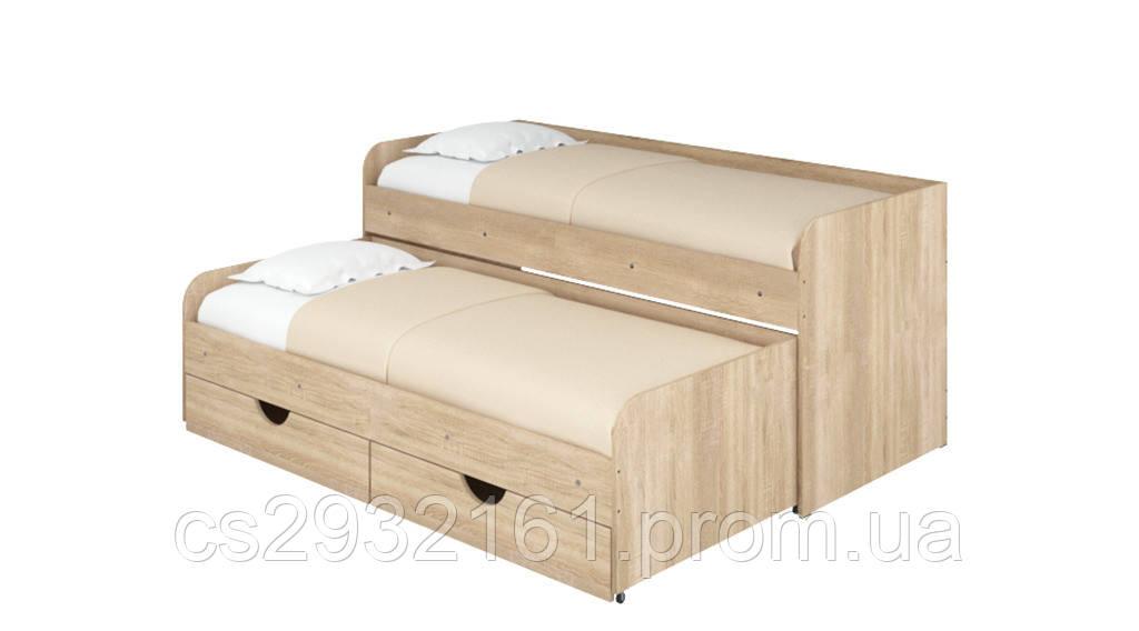 Кровать Соня 5. Кровать для двоих детей. Кровать компактная с двумя спальными местами. дуб сонома