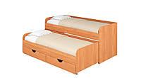 Кровать Соня 5. Кровать для двоих детей. Кровать компактная с двумя спальными местами. ольха