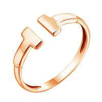 Золотое кольцо Знак моды в красном цвете с разомкнутой шинкой в стиле Тиффани 000093452 15 размер