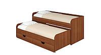 Кровать Соня 5. Кровать для двоих детей. Кровать компактная с двумя спальными местами. лесной орех