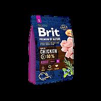 Brit Premium Dog Adult S 3 кг -Полноценный корм с курицей для щенков и молодых собак