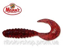 Силиконовая приманка Manns Twister 023 M-023 PU вишневый с синей блесткой 70мм
