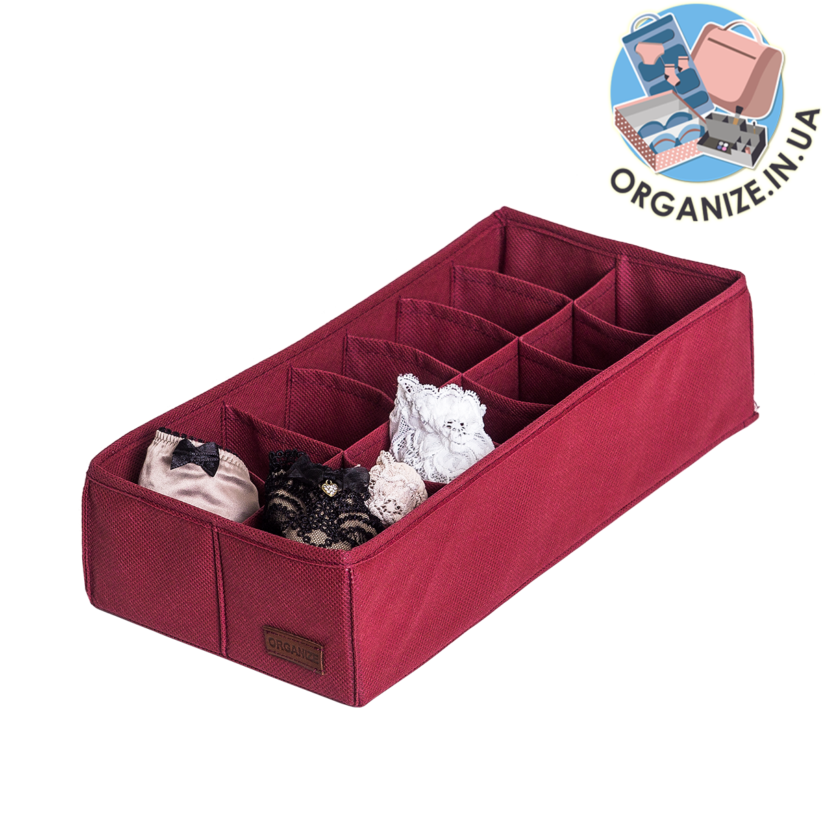 Коробочка с квадратными ячейками для носков и трусов ORGANIZE (бордо)