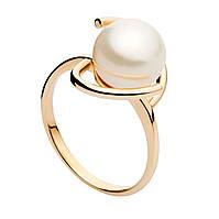 Золотое кольцо с жемчугом Романтика 000008480 16 размер