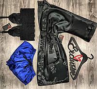 Черный атласный халат и пижама-комплект тройка.