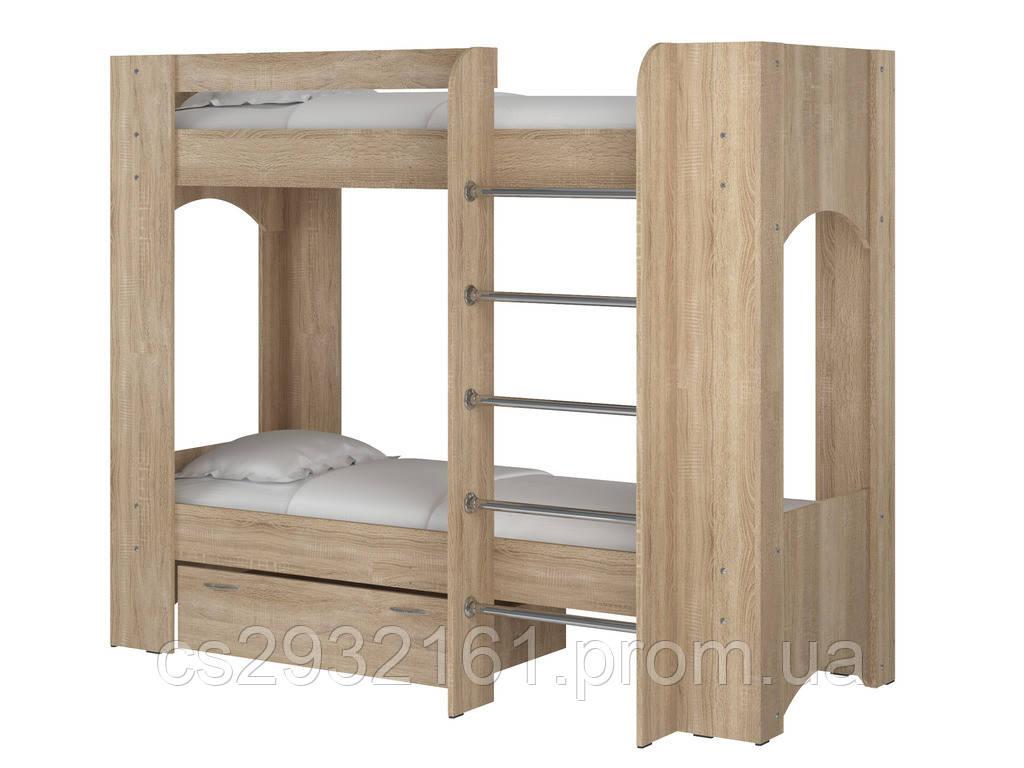 Кровать Дуэт 2. Кровать для двоих детей. Кровать двухъярусная. Кровать с двумя спальными местами. дуб сонома