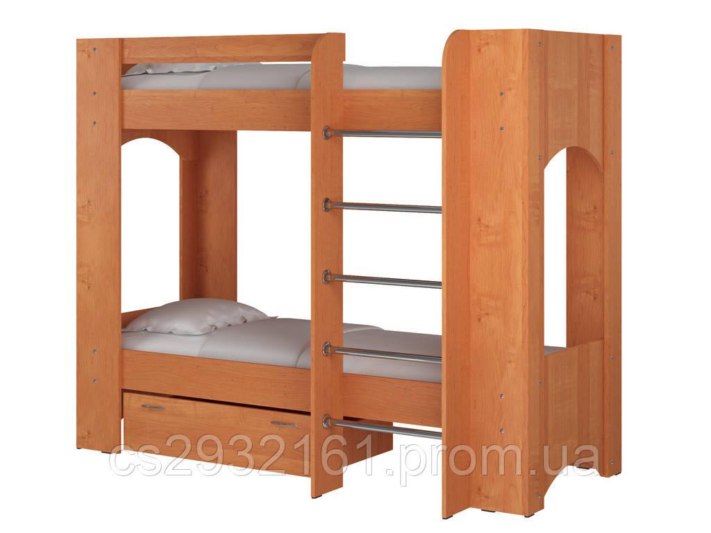 Кровать Дуэт 2. Кровать для двоих детей. Кровать двухъярусная. Кровать с двумя спальными местами. ольха