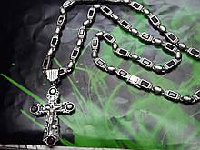 Серебряная цепочка с крестом и камнями
