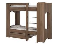 Кровать Дуэт 2. Кровать для двоих детей. Кровать двухъярусная. Кровать с двумя спальными местами. ясень шимо