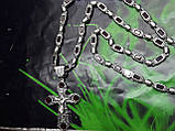 Серебряная цепочка с крестом и камнями, фото 5