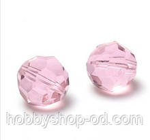 Бусины хрустальные шар 6 мм розовые (50 шт) кр. огранка