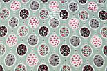 """Лоскут ткани """"Овалы с цветочками"""" на шалфейно-зелёном фоне  №1254а, размер 78*41, фото 3"""