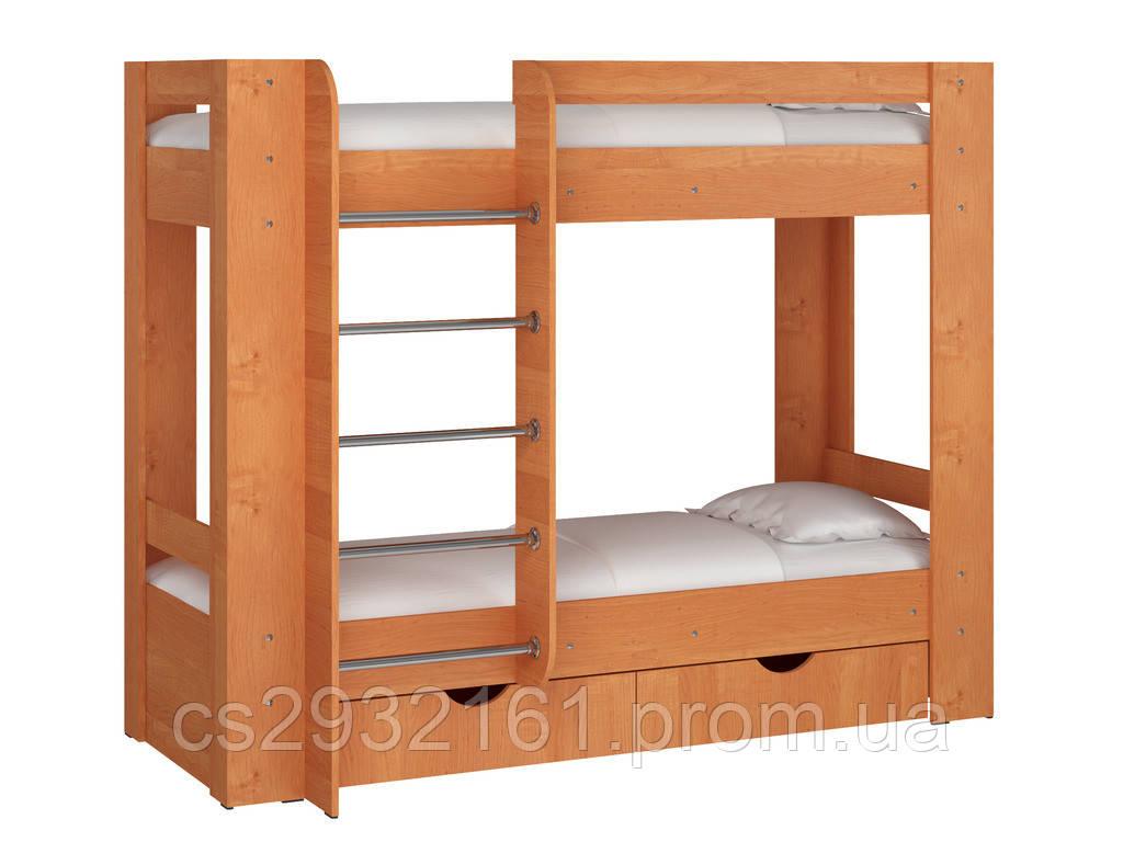 Кровать Дуэт 3. Кровать для двоих детей. Кровать двухъярусная. Кровать с двумя спальными местами. ольха