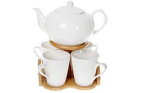Чайный фарфоровый набор Naturel: заварочный чайник (1200мл) и 4 кружки (300мл) на бамбуковой подставке,375-385
