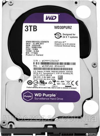 Жесткий диск Western Digital Purple 3TB 64MB 5400rpm WD30PURZ 3.5 SATA III, фото 2