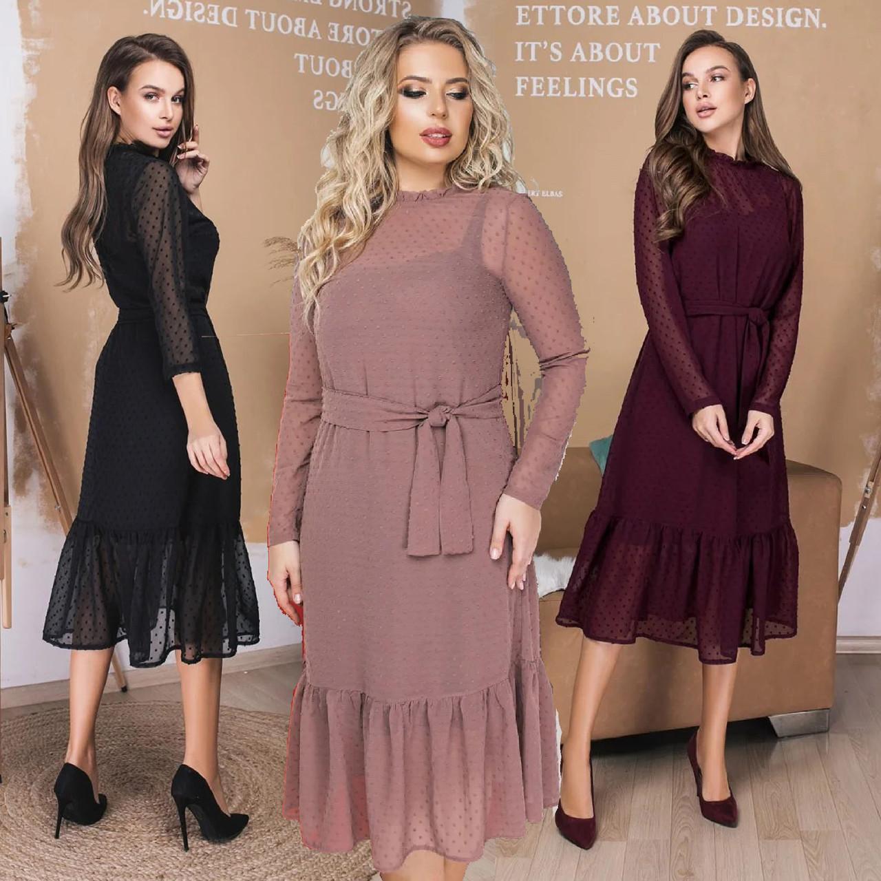 Женское шифоновое платье ниже колен на поясе /разные цвета, 42-56, LL-035/
