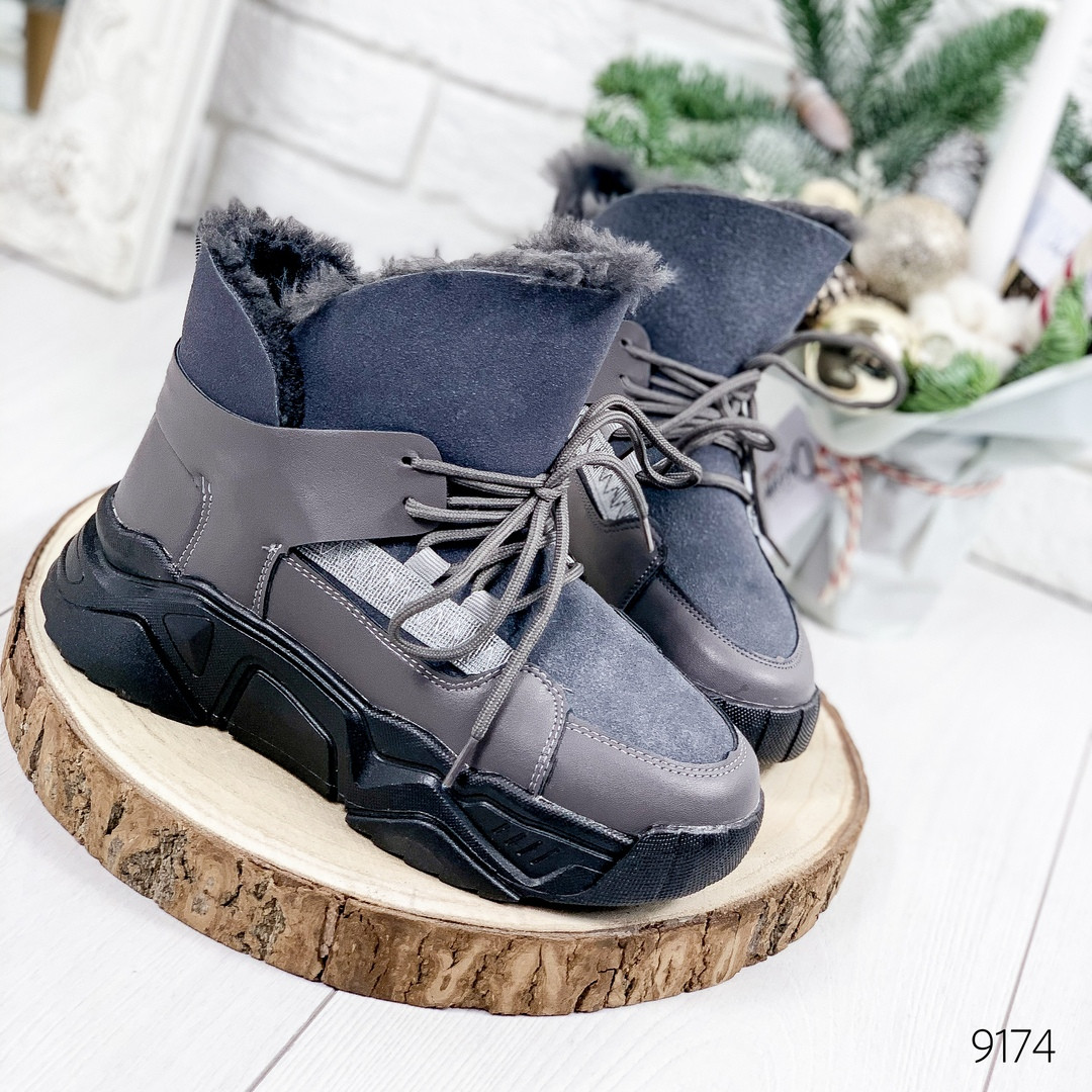 Серые ботинки женские черные внутри мех эко