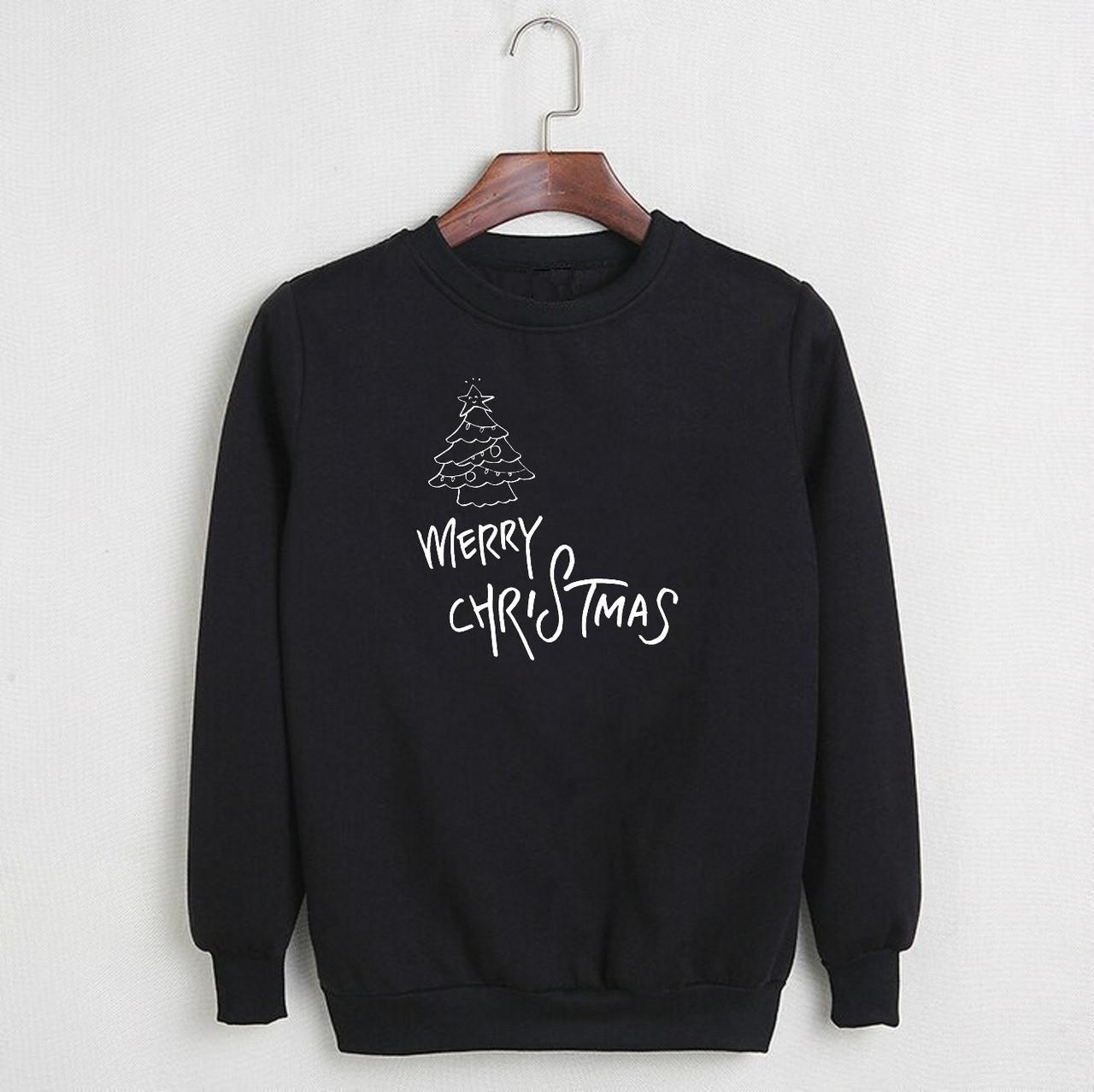 Мужской черный свитшот Merry Christmas