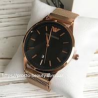 Мужские кварцевые часы Emporio Armani (Эмпорио армани) золото чёрный циферблат дата календарь металлические