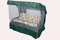 Садовые дачные качели 3х-местные ТАИТИ с откидной спинкой и антимоскитной сеткой, подушки (бежевый цветок)
