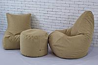 Кресло мешок груша пуф (бежевый набор мягкой бескаркасной мебели) рогожка