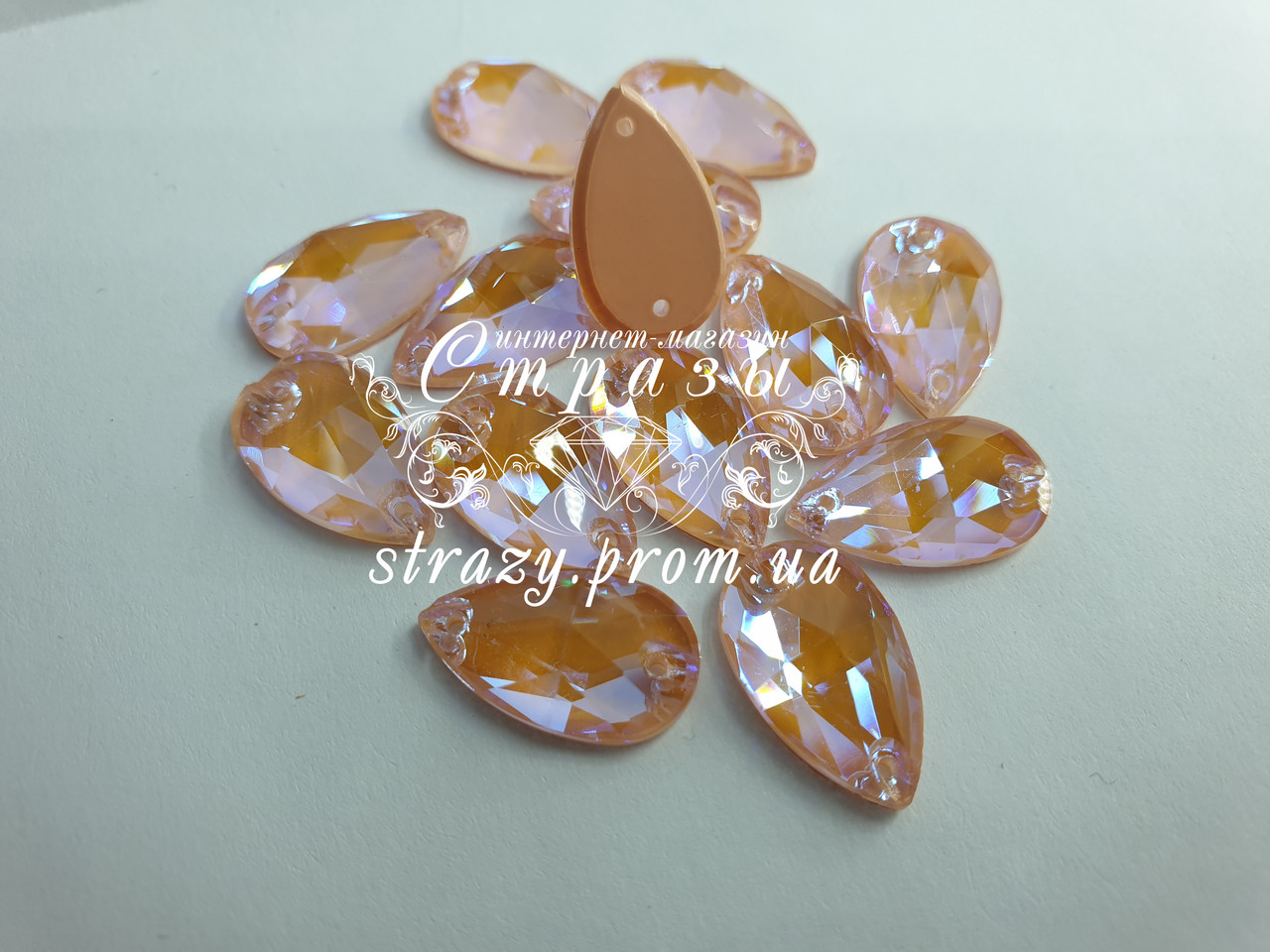 Стразы пришивные SWARO Капля 17*28мм. Crystal Electric Orange DeLite
