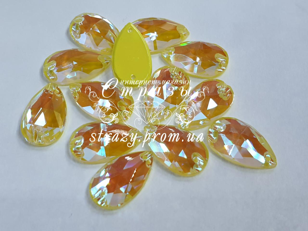 Стрази пришивні SWARO Крапля 10*18мм. Crystal Electric Yellow DeLite