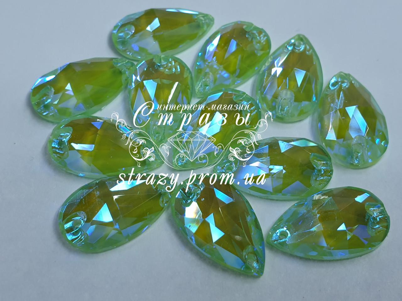 Стрази пришивні SWARO Крапля 17*28мм. Crystal Electric Green DeLite