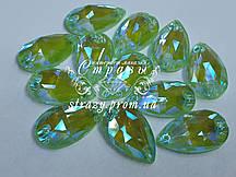 Стразы пришивные SWARO Капля 17*28мм. Crystal Electric Green DeLite