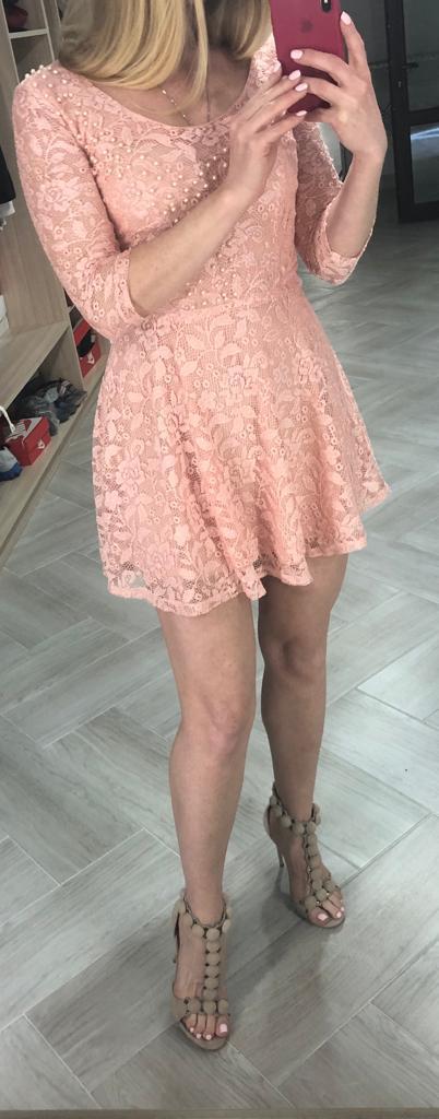 Платье женское кружевное с жемчужинами высокого качества TAHA , Турция